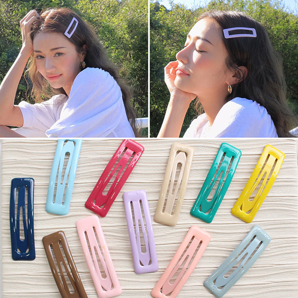 1 PC BB Clip Candy Color Square Hair Clips Alloy Girl Hairpin Summer Cartoon Hair Accessories Fashion Printing Hairclips