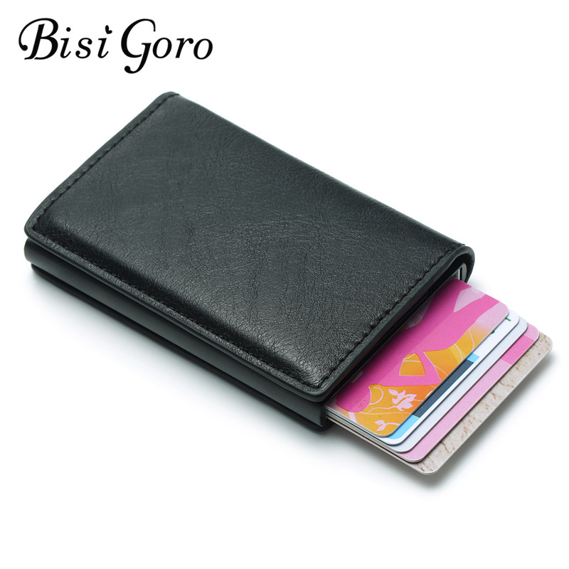 BISI GORO 2019 Slim RFID Wallet Business Card Holder Hasp Aluminum Credit Card Wallet  Metal Credit Mini Smart  Men Purse