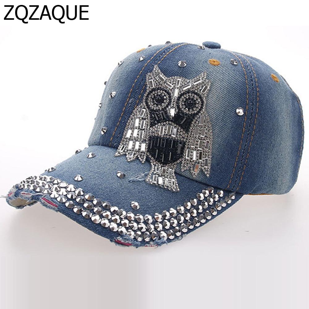 2018 nuevas niñas Denim diamante Gorras de béisbol moda taladro manual búho  icono estilo todo-fósforo Niza brillante sombreros gota sy345 355577e22c7c