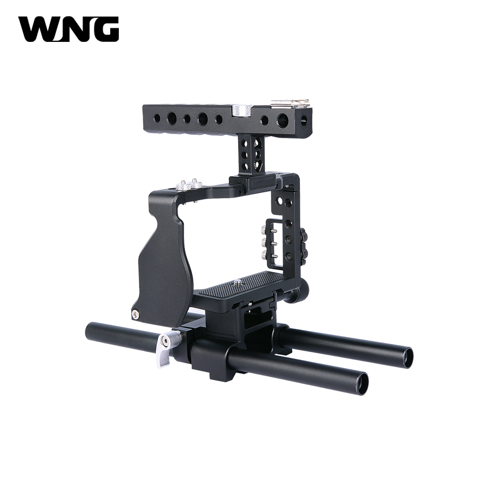 Video Cage Rig Kit Film Making System with 15mm Rod for Sony A6000 A6300 A6500