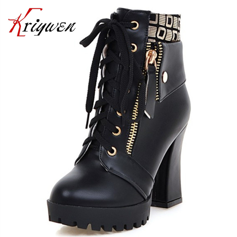 Autumn 2017 Elegant fashion ankle boots women platform thick high heels shoes zipper Pu artificial leather short Martin boots пазл галопом по снегу 500 шт
