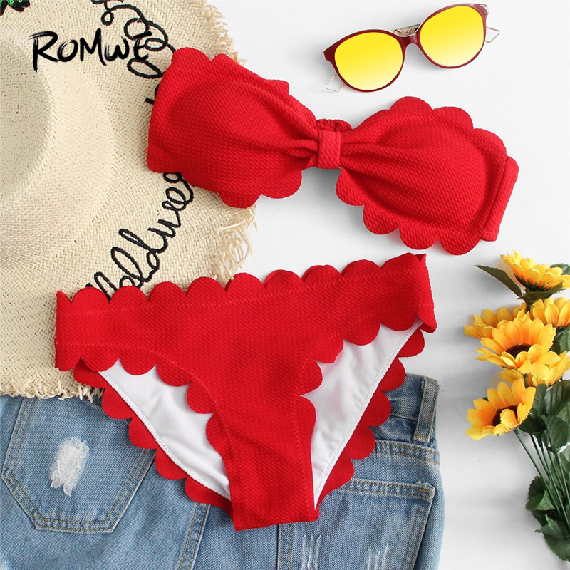 Romwe Sport Scalloped Trim Bandeau Bikini Set 2018 New Red Female Clothing Off The Shoulder Beach Vacation Two-pieces Sweamwear scalloped trim bandeau bikini set