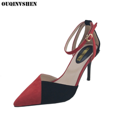 OUQINVSHEN Ladies Sandals High Heel Pointed Toe Thin Heels Sandals Women Casual Fashion Crystal High Heels Summer Buckle Sandals