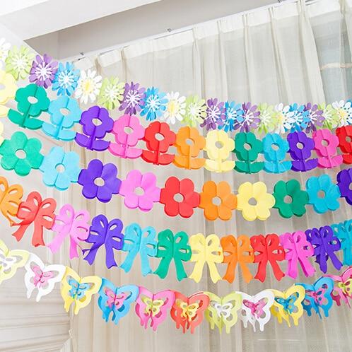 Zilue 5pcs / lot Hausgartendekorationpapiergirlande Geburtstagsfeierblumen Lieferanten der Kinder des Tages, die Dekoration wedding