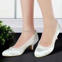 EL-005CC Woman White Ivory Round Toe Beading Mid Low Heel Laides Satin Pumps Bride Wedding Bridal Prom Dress Shoes Silver