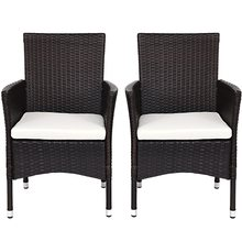 2 Pcs Dining Chairs Set with 2 Cushion Covers Minimalist Modern Outdoor Garden Chairs Furniture OP3419(China)