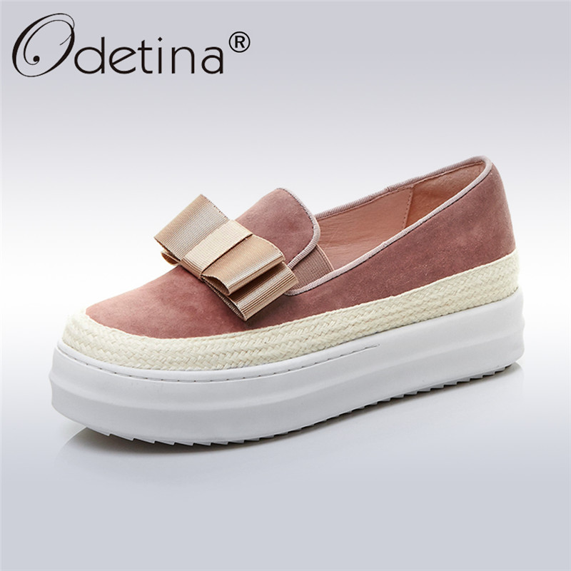 Odetina 2017 Fashion Genuine Leather Bow Tie Platform Flats Shoes Female Round Toe Women's Casual Slip on Loafers Plus Size 43 все цены