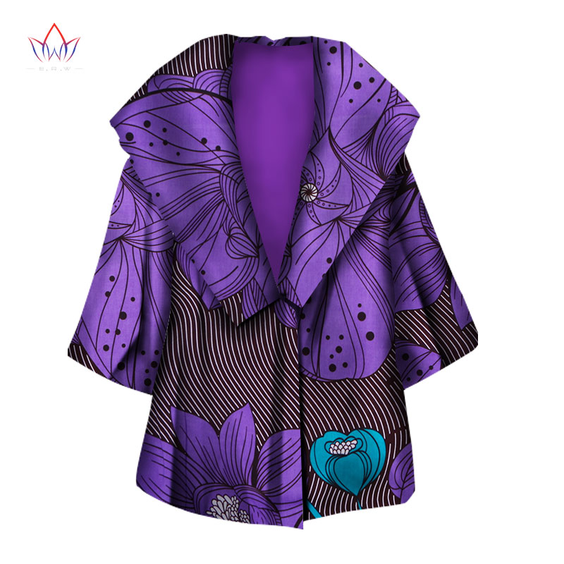 New Autumn African Coat For Women Dashiki Fashion Long Sleeve Africa Clothing Bazin Riche Plus Size   Trench   Top WY1318
