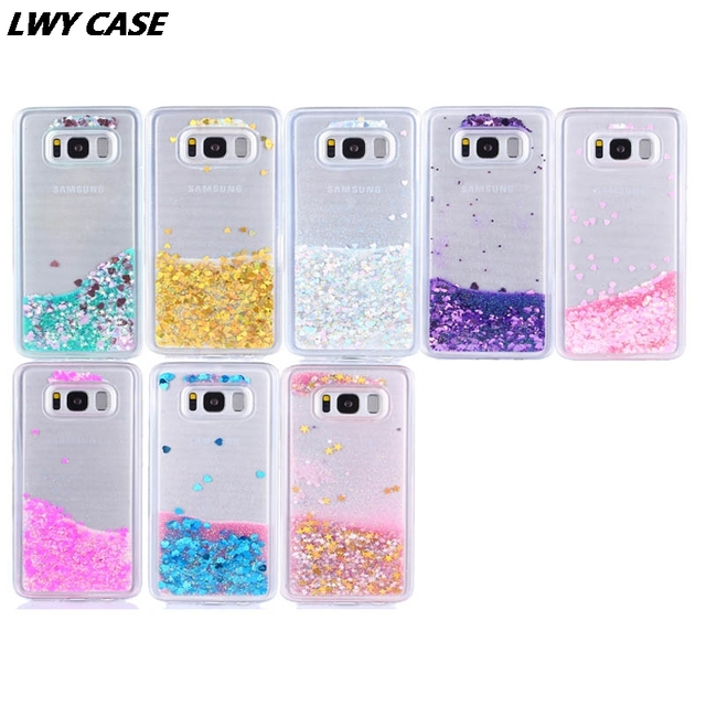 detailed look e055c 16ad3 US $4.8 |For Samsung Galaxy S8 S8 Plus Phone Case Liquid Glitter Quicksand  Star Heart Clear Crystal Soft TPU protective Cover-in Fitted Cases from ...