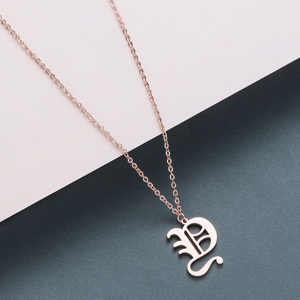 Todorova Old English Custom Capital Initial A-Z Letter Pendant Necklace Men Vintage Font Personalized Necklace Women Jewelry 75