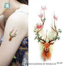 Waterproof Tattoos Sticker Color Sika Red Deer Pattern Temporary Tattoo Stickers Body Art Flash Tattoo Foil Taty