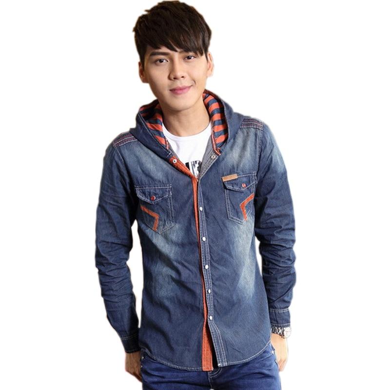 Korean Fashion Men Vintage Hooded Camisas Jeans Casual Shirt ...
