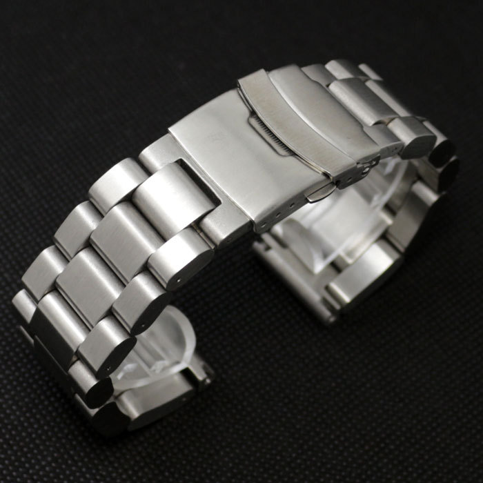 24mm Silver Stainless Steel Solid Links Watch Band Strap Bracelet Curved End Jewelry Accessories Wrist Watch GD013424 curved end stainless steel watch band for breitling iwc tag heuer butterfly buckle strap wrist belt bracelet 18mm 20mm 22mm 24mm