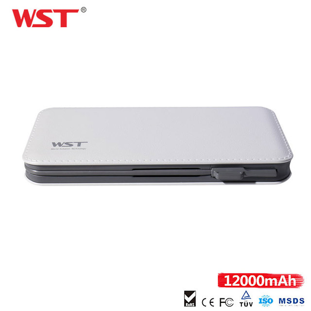 WST PowerBank 12000mAh High Capacity External Battery Pack Built in Cable with for iPhone Adapter Ultra Slim Power Bank Bateria