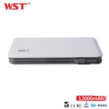 WST PowerBank 12000mAh duża pojemność zewnętrzna bateria wbudowany w przewód z dla iPhone adapter Ultra Slim Power Bank bateria tanie tanio Awaryjne przenośne MSDS RoHS CE FCC Szybkie ładowanie w jedną stronę Akumulator litowo-polimerowy 10001-15000mAh
