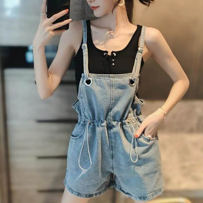 Summer Strap Short Denim Overalls Women Loose Boyfriend Jean Jumpsuit Denim Playsuits Elegant Pockets High Waist Short Overalls(China)