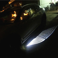 12V 2Pcs Angle Wing Ghost Shadow Light Welcome Lamp Car LED Door Warning Light For Ford