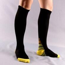 Meias de compressão, 6 par/lote homens e mulheres meias de circulação gradiente anti fatigu joelho ortopédicas de suporte