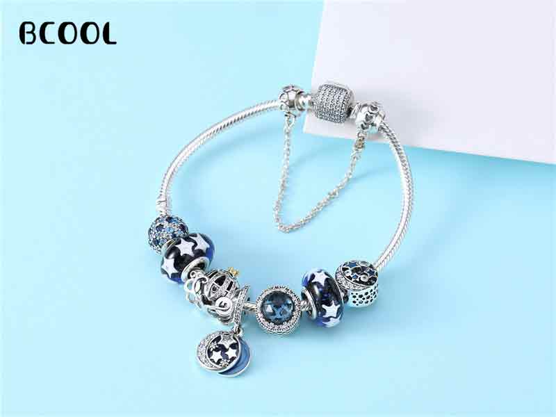 100%925 Sterling Silver Original 1:1 Fashionable Silver Charm Bracelet, Suitable For Womens Snow Crystal Beads Bracelet Jewelry100%925 Sterling Silver Original 1:1 Fashionable Silver Charm Bracelet, Suitable For Womens Snow Crystal Beads Bracelet Jewelry