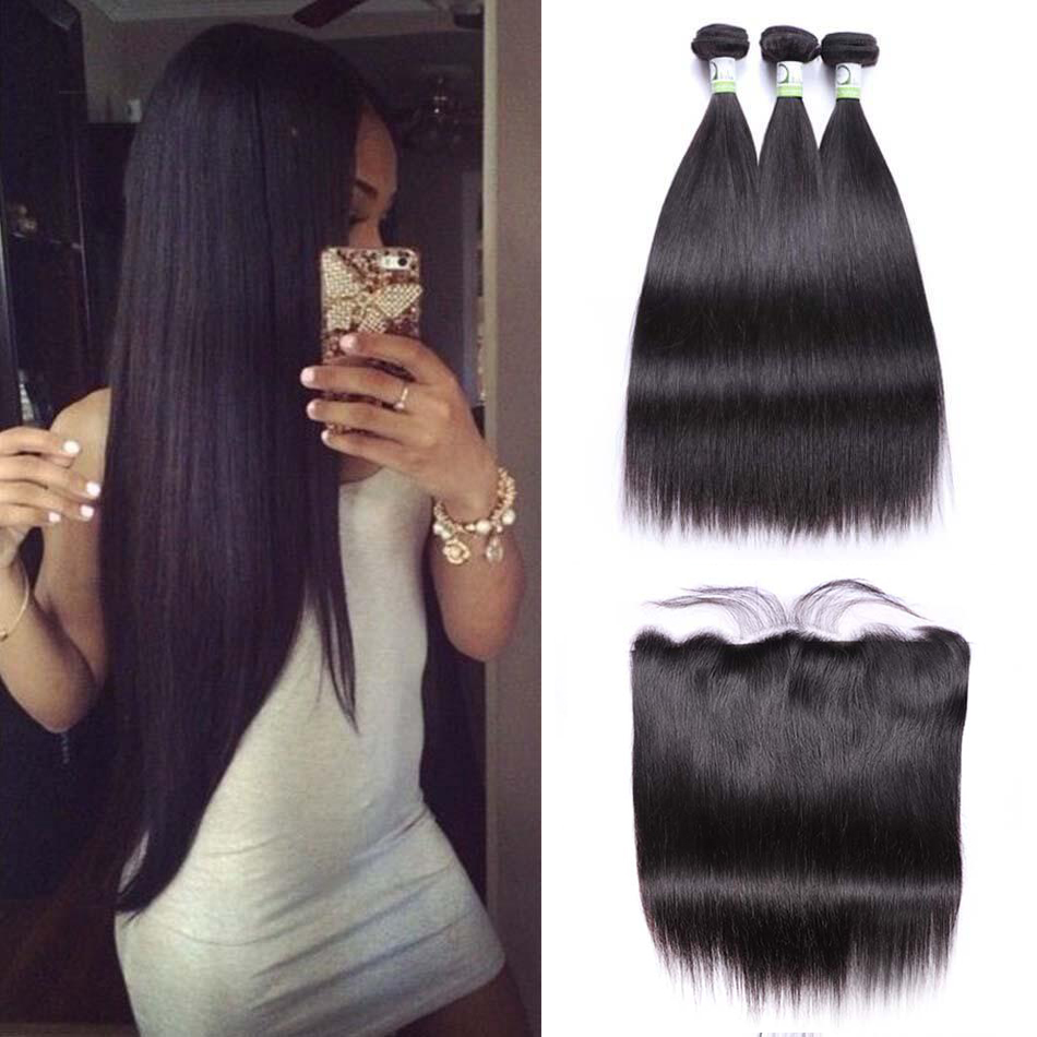 Sterly Straight Hair Bundles With Frontal Non-Remy Human Hair Bundles With Closure Brazilian Hair Weave Bundles With Closure(China)
