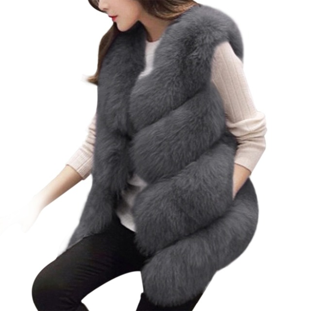 2017 Winter Women Thick Warm Faux Fox Fur Vest High Quality Fashion O-Neck Short Fur Coat Women Fur Jacket Outwear 3XL Plus Size