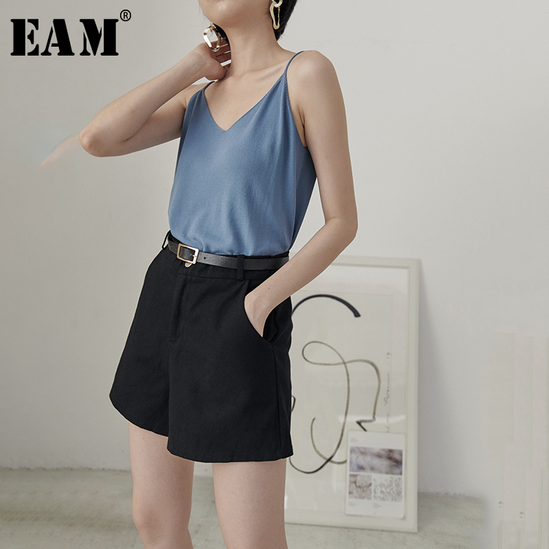 [EAM] 2019 New Spring Summer High Waist Black Denim 4 Colors Loose Leisure Wide Leg   Shorts   Women Trousers Fashion Tide JU041