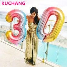 Ballons numériques numéros 0-9 en aluminium couleur dégradé 32/40 pouces, 1 pièce, décorations de fête d'anniversaire, fournitures de célébration de réception-cadeau pour bébé