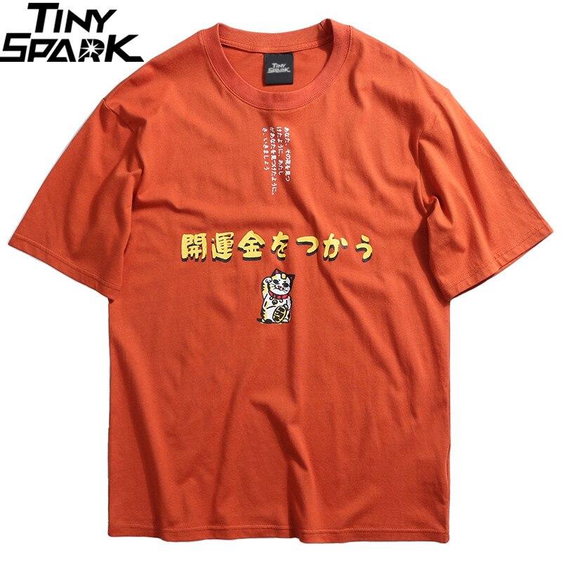 Japanese Harajuku T-Shirt Streetwear Fortune Cat T Shirt Hip Hop Men Short Sleeve Summer 2019 Tshirt Cotton Top Tee Letter Print