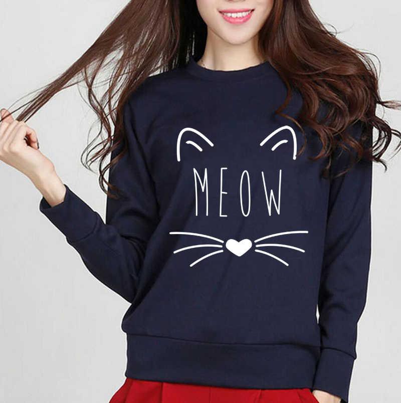 2017 automne hiver sweat à capuche femmes Kawaii Cat Meow Kitty sweat polaire haute qualité vêtements de sport à manches longues pulls col rond