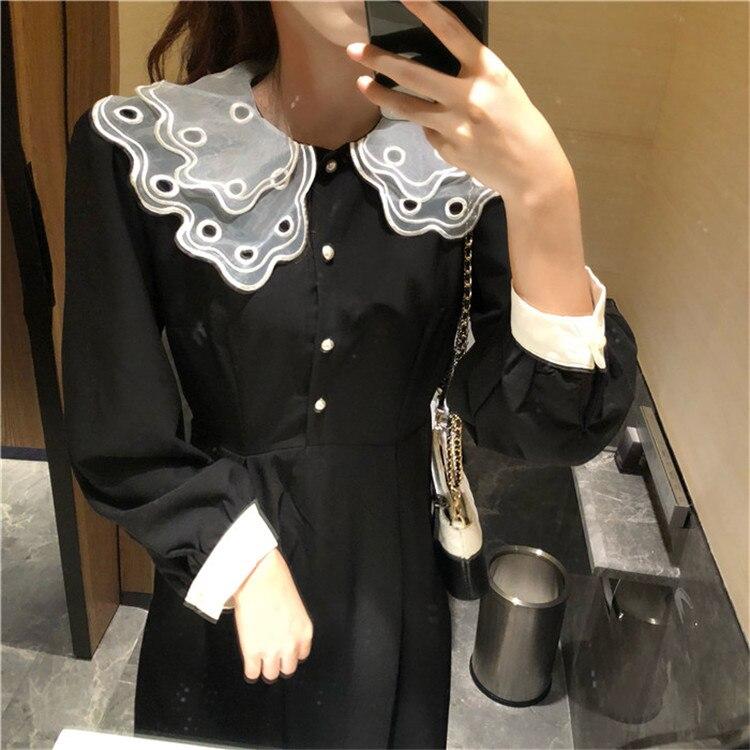 f7d4a1b37423 ... Kawaii Vintage 80s Double Lace Peter Collar Sweet High Waist Elegant  Midi Long Black Dress Korean ...