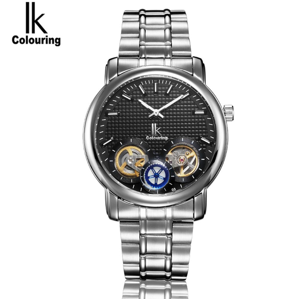 2017 IK Watch 2017 Men's Dual Tourbillion Dial Watches Auto Mechanical Wristwatch with Original Box Free Ship cotton bull and letters print round neck short sleeve t shirt