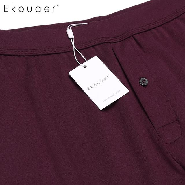 Ekouaer Pajamas Pants Long Johns Sleep Bottoms Solid Elastic Waist Cold Weather Male Leggings Underwear Homewear Clothing S-3XL