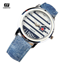 GUOTE New Famous Brand Stripe Star Casual Quartz Watch Women Jean Fabric Lether Strap Dress Watches Relogio Feminino Clock Hot цена