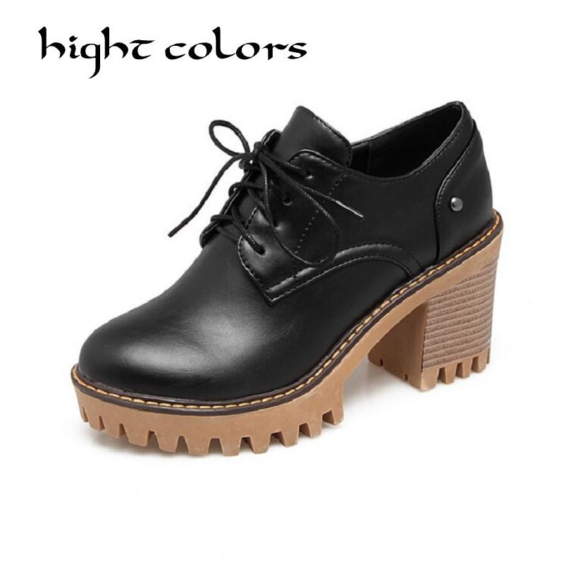 Women Pumps 2018 Fashion Women Shoes Lace up High Heels Spring Autumn Square Heel Gladiator Oxford shoes Plus size 34~43 big size eur 34 50 thick heels round toe single shoes spring autumn high heel women shoes fashion pumps lace up low shoes ox119