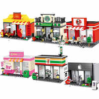 Compatible Toy City Mini Street Cafe Food Retail Convenience Store Architecture Building Blocks Sets Toys For Children