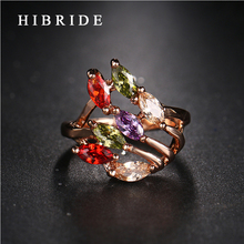 HIBRIDE Brand Luxurious Jewelry Wedding Engagement Accessories Rings, Gold Color Multicolor AAA Zircon Rings  QSP0010-28