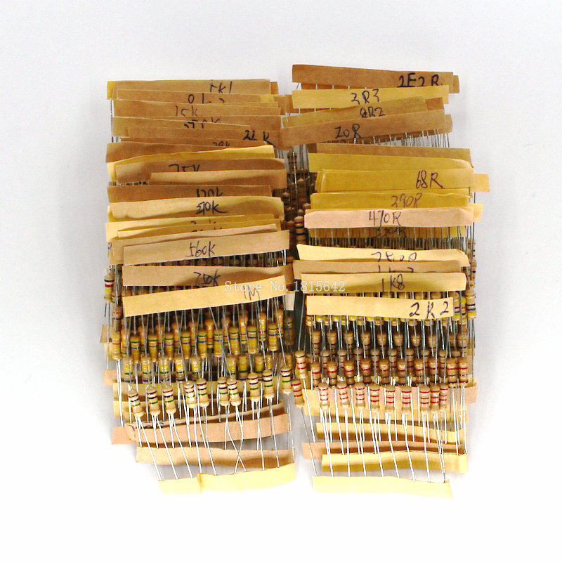 500PCS/LOT 50 Values Each 10Pcs 1/2W Power 0.5W 5% Tolerance Carbon Film Resistors Assorted Assortment Kit 1.2 Ohm-1M Ohm