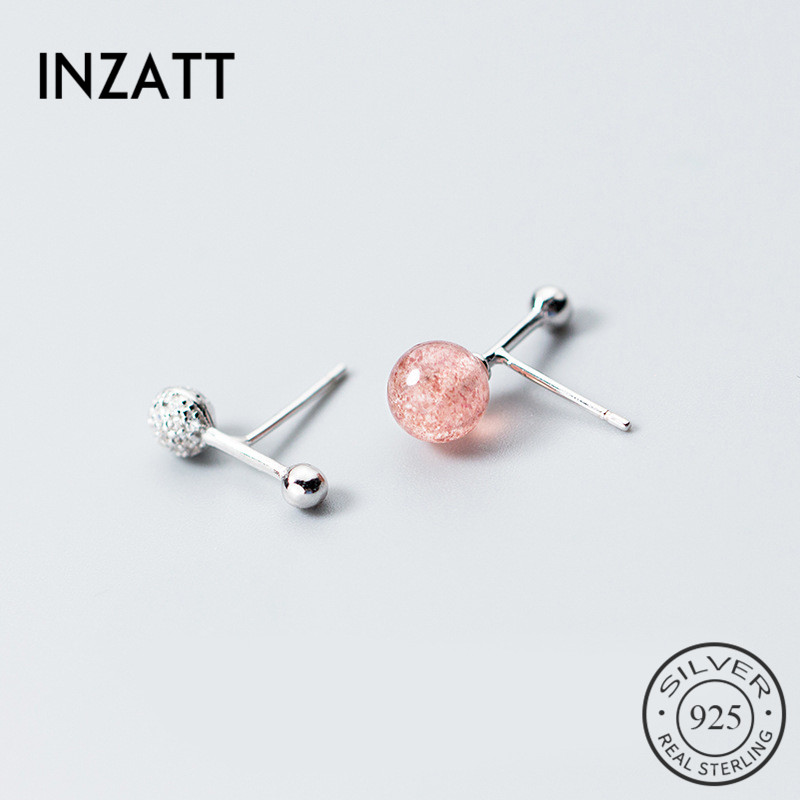 INZATT Asymmetry 2018 New Arrivals Stone Letter <font><b>T</b></font> Stud Earrings 925 Sterling Silver Rose <font><b>gold</b></font> color For Women Charm Jewelry Gift