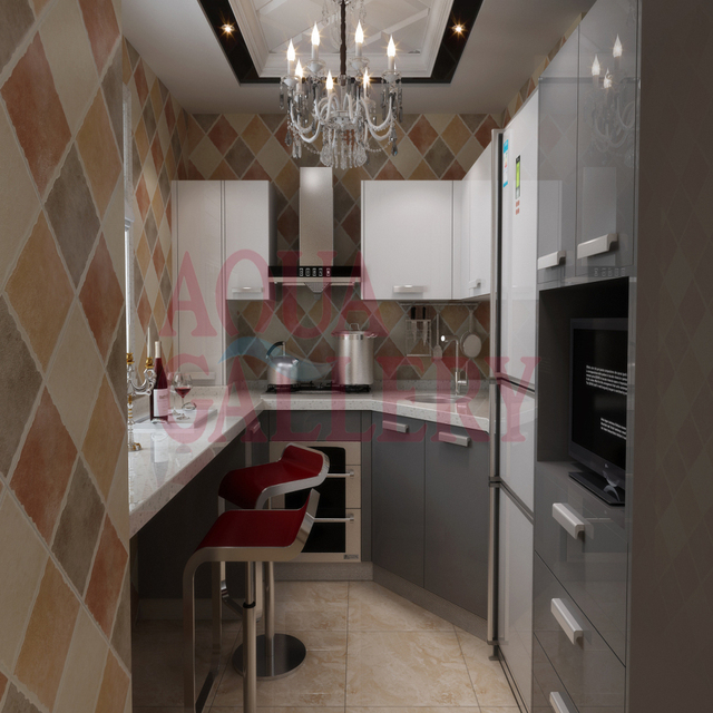Us 2999 0 Elegant White And Grey High Glossy Small Modular French Style Solid Wooden Kitchen Designs In Kitchen Cabinets From Home Improvement On