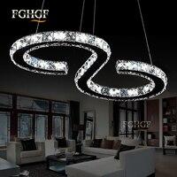 Modern Chrome Crystal Chandelier Light Diamond Ring LED Lamp Stainless Steel Hanging Light Fixtures Adjustable Lustres