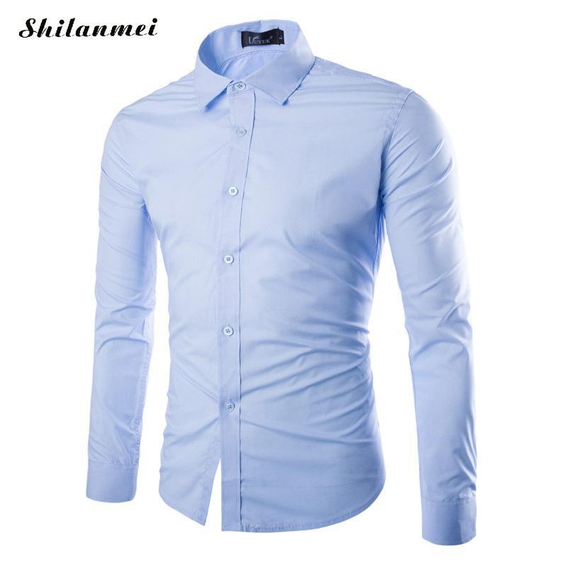 2018 Merk Solid Katoen Mannen Shirt Mannelijke Jurk Shirts Fashion Slim Fit Lange Mouw Formele Overhemd Camisa Sociale Masculina