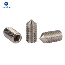 50Pcs DIN914 M3 M4 M5 304 Stainless Steel Grub Screws Cone Point Hexagon Hex Socket Set Screws HW005
