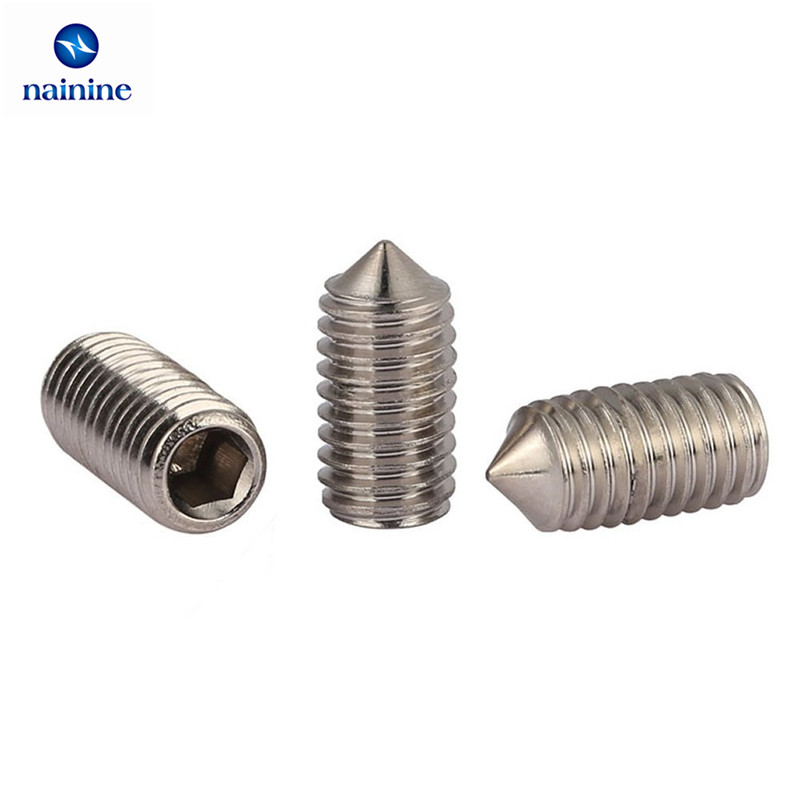 50Pcs DIN914 M3 M4 M5 304 Stainless Steel Grub Screws Cone Point Hexagon Hex Socket Set Screws HW005 2018 axk 260pcs din914 m3 m4 m5 m6 304 316 12 9 stainless steel grub screws cone point hexagon hex socket set assortment kit