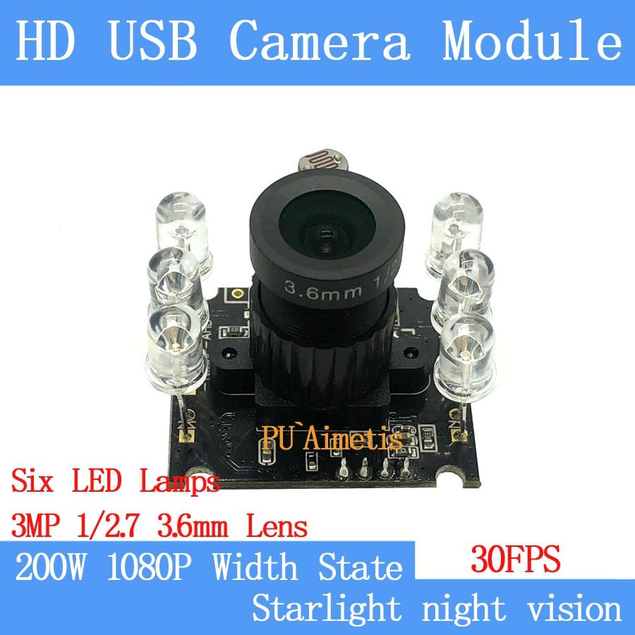 все цены на Industrial Mini CCTV 1080P HD MJPEG 30FPS 6 infrared LED USB Camera module starlight night vision wide dynamic 2MP support audio онлайн