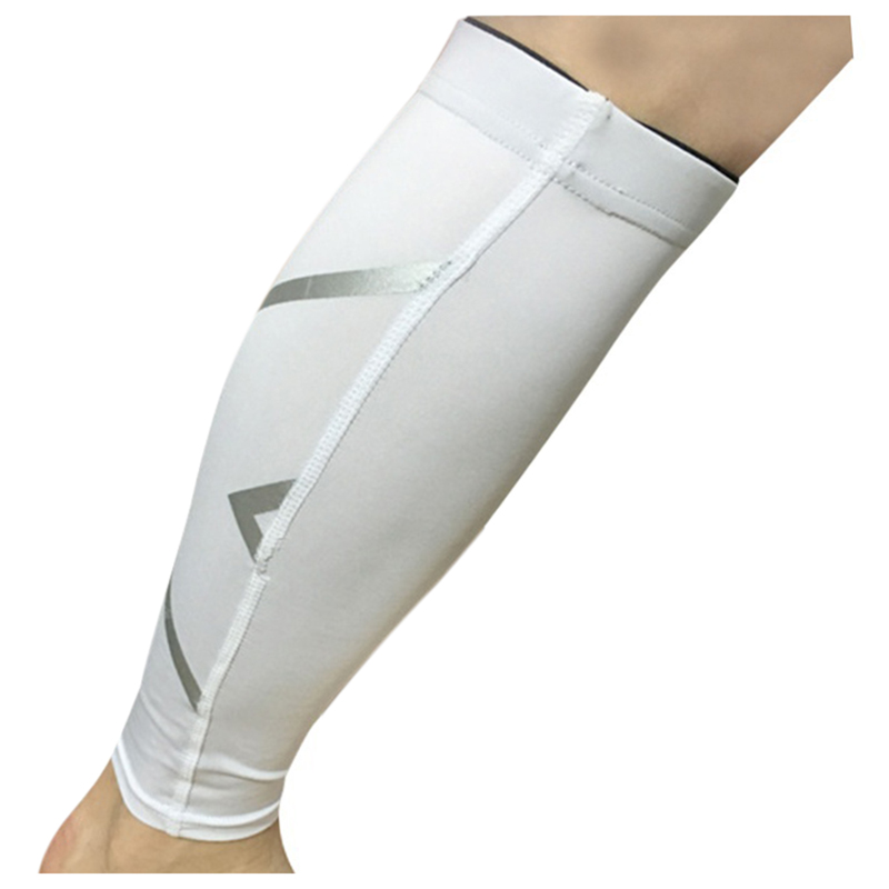 Unisex Womens Mens Leg Support Braces Calf Socks Compressions Sleeves Running Basketball Weight Lift Leg Sleeves White