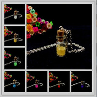 5sets/lot handmade Trendy glass Vial Pendant Necklace Natural Corked Bottles Antique silver Chain Glass Vial Terrarium jewelry