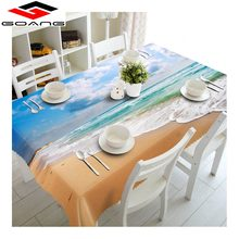 GOANG 3d table cloths cotton waterproof tablecloth sea Shell starfish scenery rectangular round table cover wedding decoration(China)