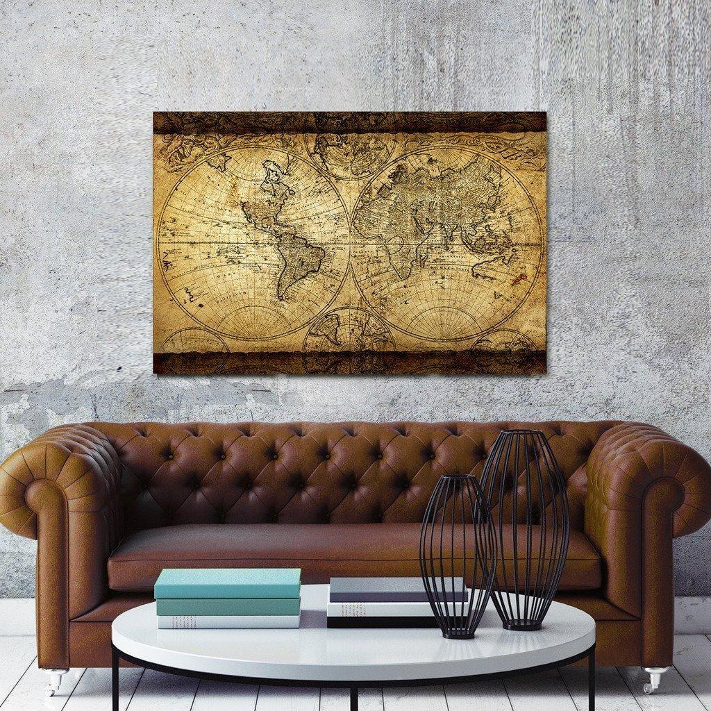 Wieco Kunst Weltkarte Große Moderne Gestreckt und Eingerahmt Giclée ...