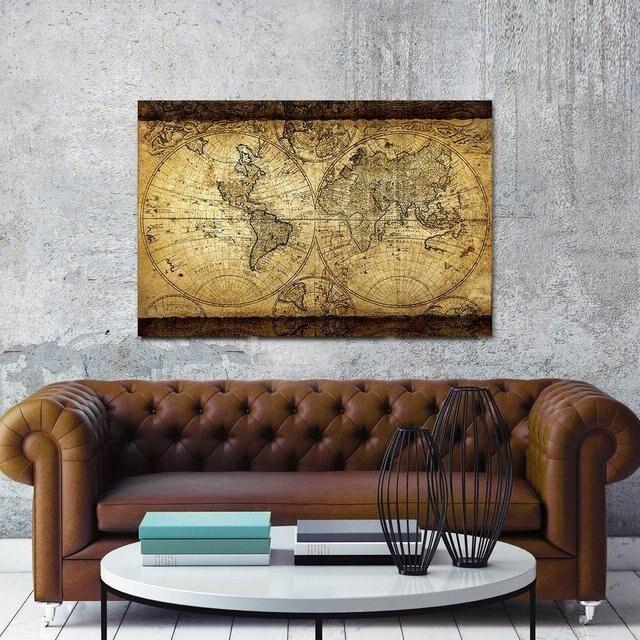 Top decorart vintage world map canvas wall art retro map of the top decorart vintage world map canvas wall art retro map of the world canvas prints framed gumiabroncs Images