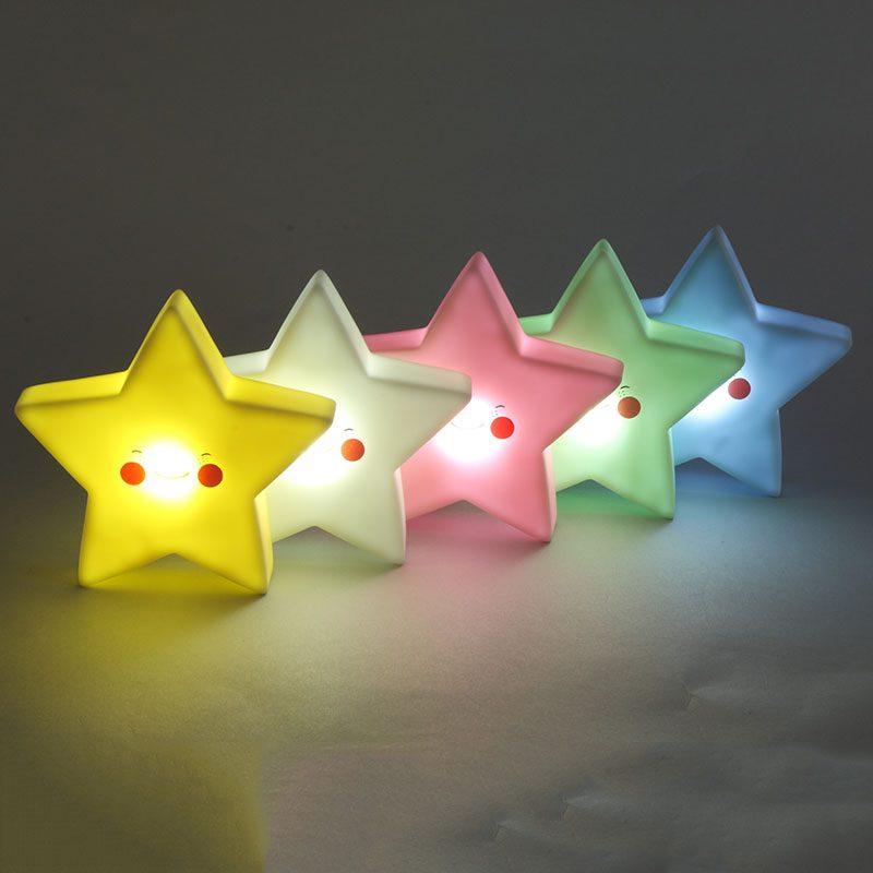 LED Star Shape Night Light Kids Bedsibe Lamp Novelty Children Baby Birthday/Christmas Toy Gift Home Decor Cute